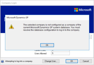 """Error : """"The selected company is not configured as a company"""